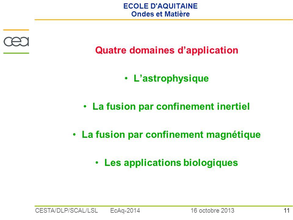 11 16 octobre 2013CESTA/DLP/SCAL/LSL EcAq-2014 ECOLE D'AQUITAINE Ondes et Matière Quatre domaines dapplication Lastrophysique La fusion par confinemen