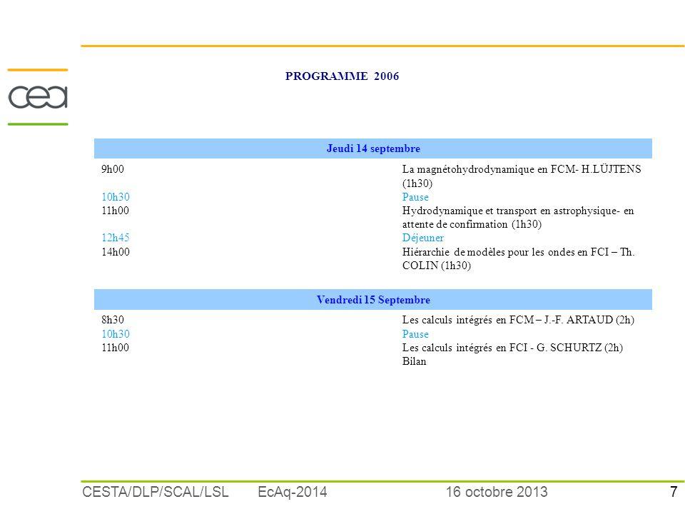 7 16 octobre 2013CESTA/DLP/SCAL/LSL EcAq-2014 PROGRAMME 2006 Jeudi 14 septembre 9h00 10h30 11h00 12h45 14h00 La magnétohydrodynamique en FCM- H.LÜJTEN