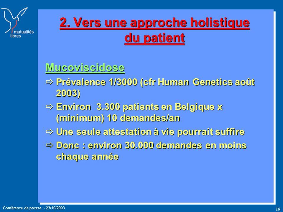 Conférence de presse - 23/10/2003 19 Mucoviscidose Prévalence 1/3000 (cfr Human Genetics août 2003) Prévalence 1/3000 (cfr Human Genetics août 2003) Environ 3.300 patients en Belgique x (minimum) 10 demandes/an Environ 3.300 patients en Belgique x (minimum) 10 demandes/an Une seule attestation à vie pourrait suffire Une seule attestation à vie pourrait suffire Donc : environ 30.000 demandes en moins chaque année Donc : environ 30.000 demandes en moins chaque année 2.