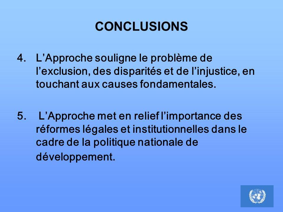 CONCLUSIONS 4.LApproche souligne le problème de lexclusion, des disparités et de linjustice, en touchant aux causes fondamentales. 5. LApproche met en