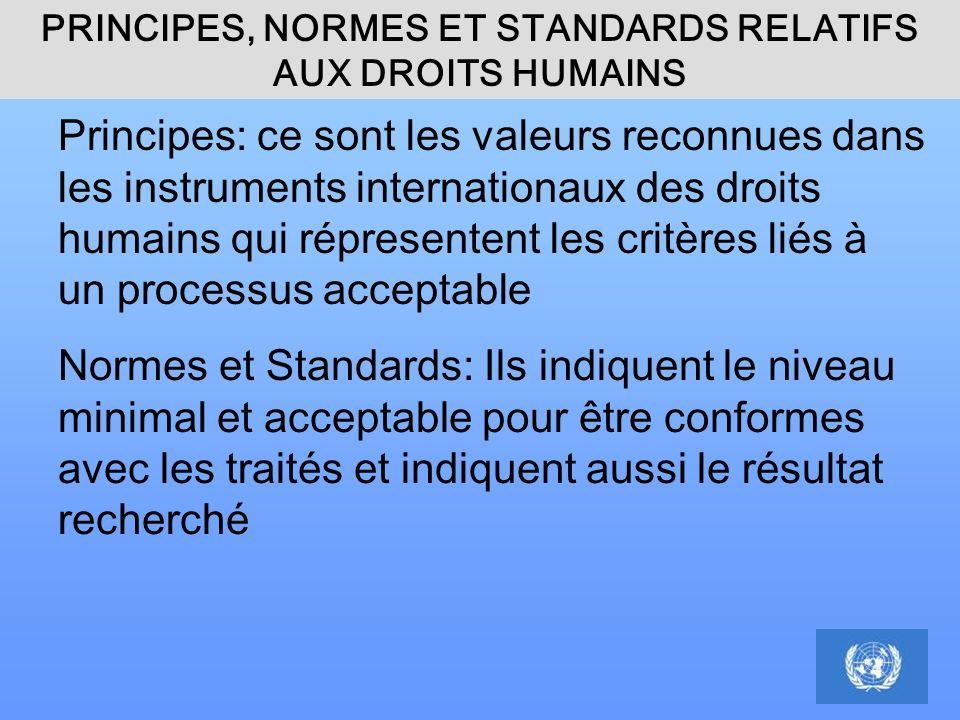 PRINCIPES, NORMES ET STANDARDS RELATIFS AUX DROITS HUMAINS Principes: ce sont les valeurs reconnues dans les instruments internationaux des droits hum