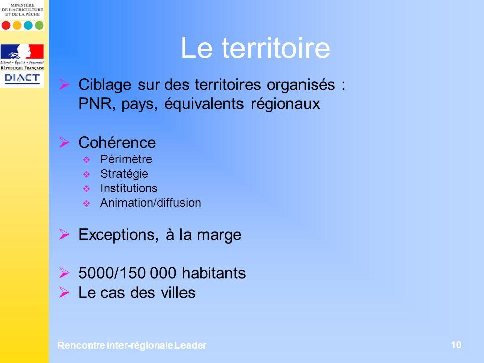 Rencontre inter-régionale Leader 10 Le territoire Ciblage sur des territoires organisés : PNR, pays, équivalents régionaux Cohérence Périmètre Stratég