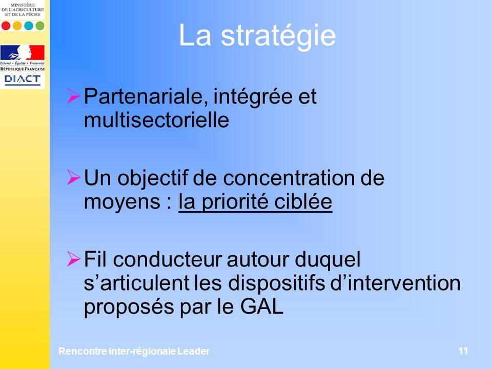 Rencontre inter-régionale Leader 11 La stratégie Partenariale, intégrée et multisectorielle Un objectif de concentration de moyens : la priorité ciblée Fil conducteur autour duquel sarticulent les dispositifs dintervention proposés par le GAL