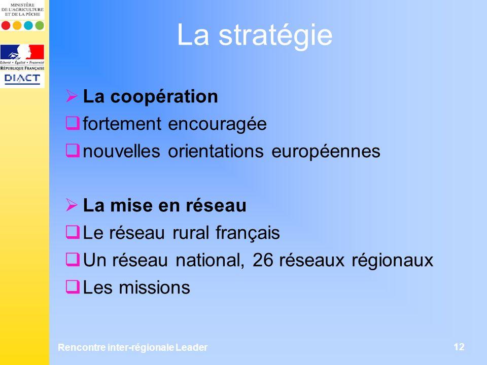 Rencontre inter-régionale Leader 12 La stratégie La coopération fortement encouragée nouvelles orientations européennes La mise en réseau Le réseau rural français Un réseau national, 26 réseaux régionaux Les missions