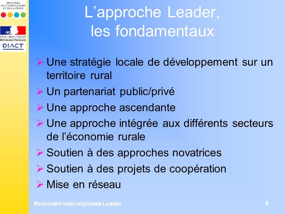 8 Lapproche Leader, les fondamentaux Une stratégie locale de développement sur un territoire rural Un partenariat public/privé Une approche ascendante