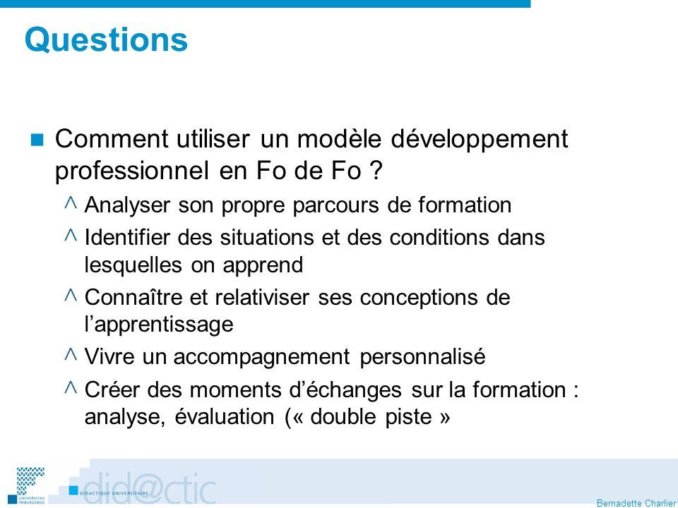 Bernadette Charlier Questions Comment utiliser un modèle développement professionnel en Fo de Fo .