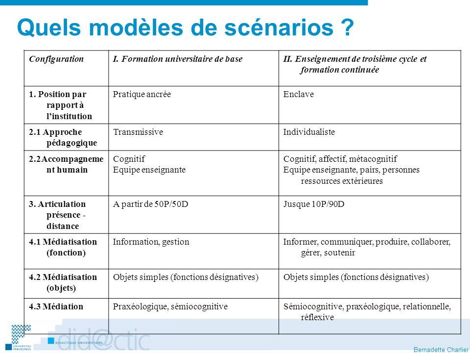 Bernadette Charlier Quels modèles de scénarios . ConfigurationI.