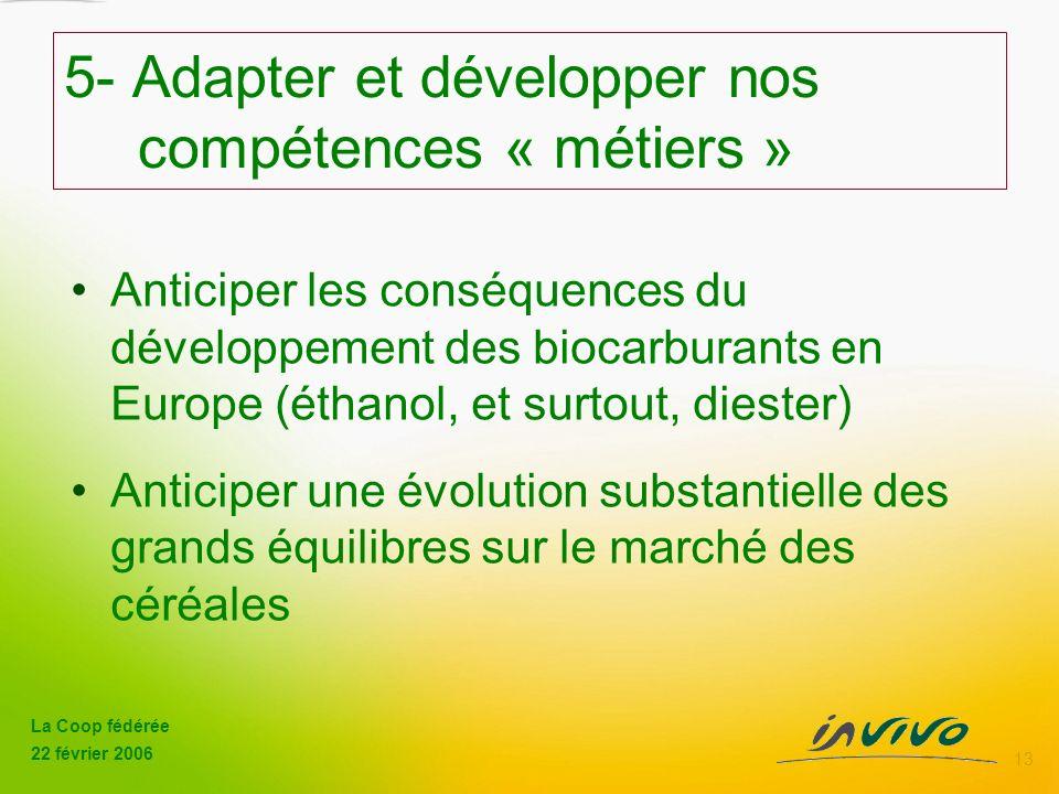 La Coop fédérée 22 février 2006 13 5- Adapter et développer nos compétences « métiers » Anticiper les conséquences du développement des biocarburants en Europe (éthanol, et surtout, diester) Anticiper une évolution substantielle des grands équilibres sur le marché des céréales