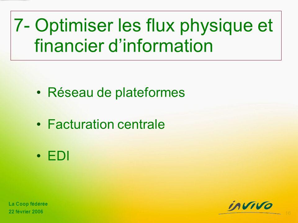 La Coop fédérée 22 février 2006 16 7- Optimiser les flux physique et financier dinformation Réseau de plateformes Facturation centrale EDI