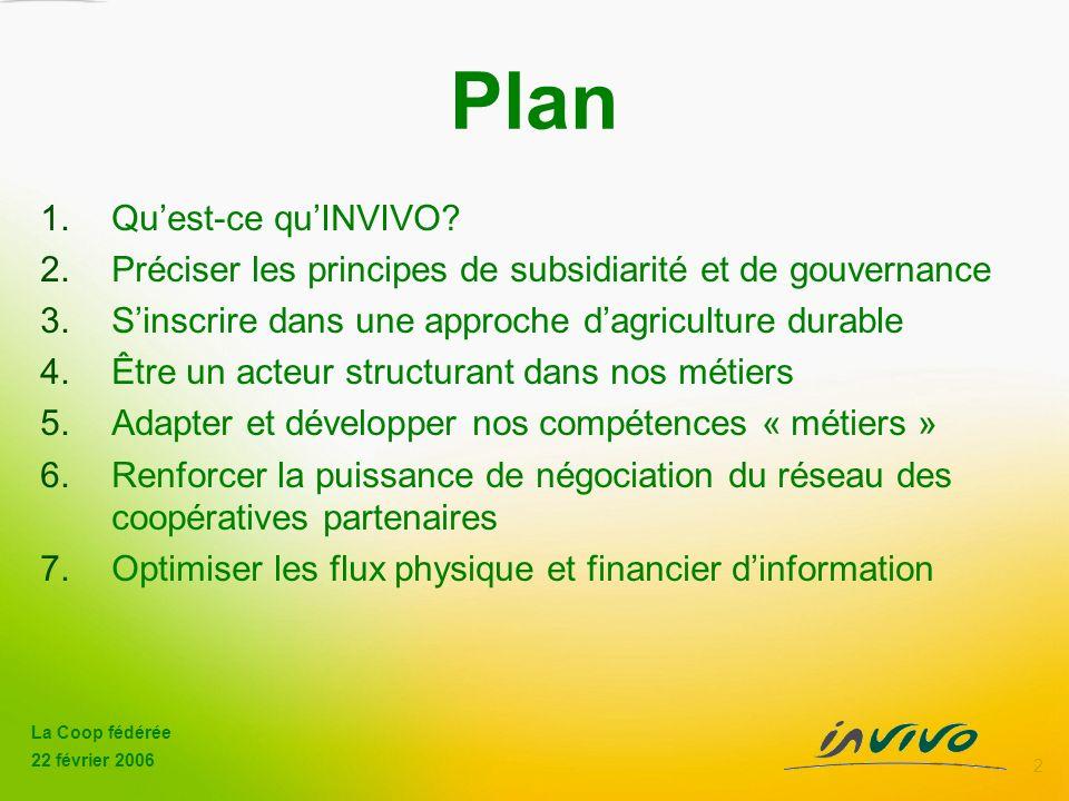 La Coop fédérée 22 février 2006 2 Plan 1.Quest-ce quINVIVO.
