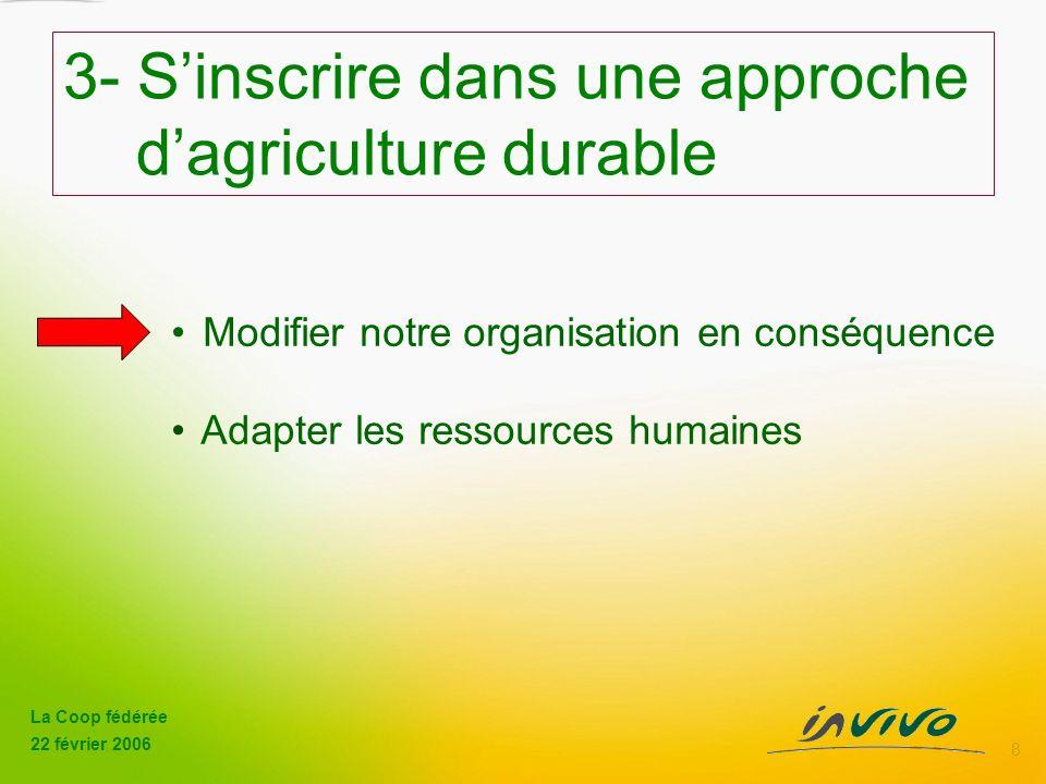 La Coop fédérée 22 février 2006 8 Modifier notre organisation en conséquence Adapter les ressources humaines 3- Sinscrire dans une approche dagriculture durable