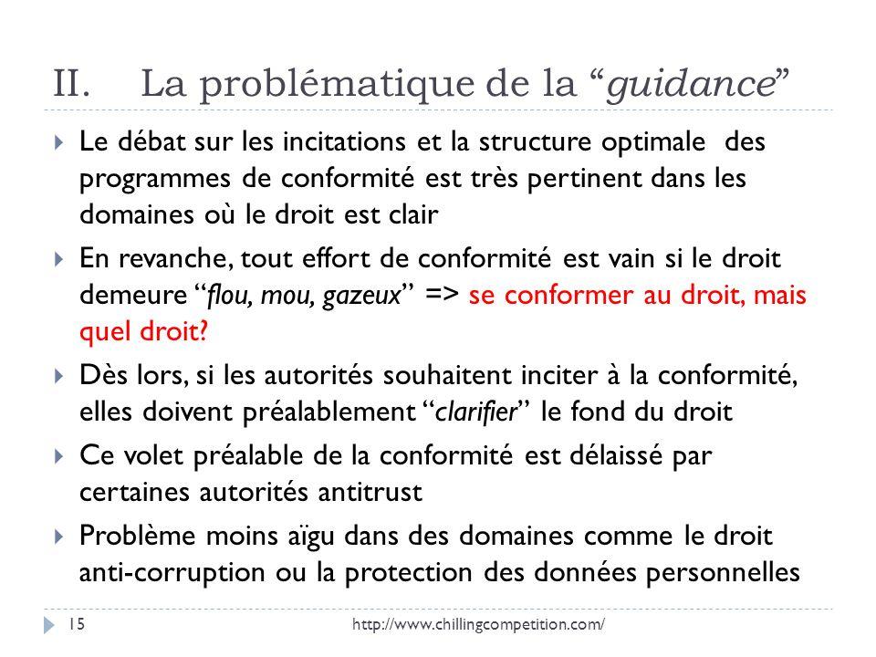 II.La problématique de la guidance Le débat sur les incitations et la structure optimale des programmes de conformité est très pertinent dans les doma
