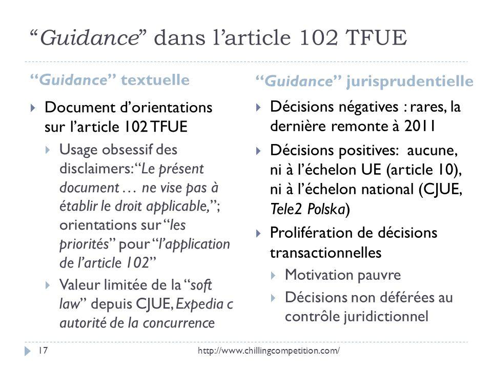 Guidance dans larticle 102 TFUE Guidance textuelle Guidance jurisprudentielle Document dorientations sur larticle 102 TFUE Usage obsessif des disclaim
