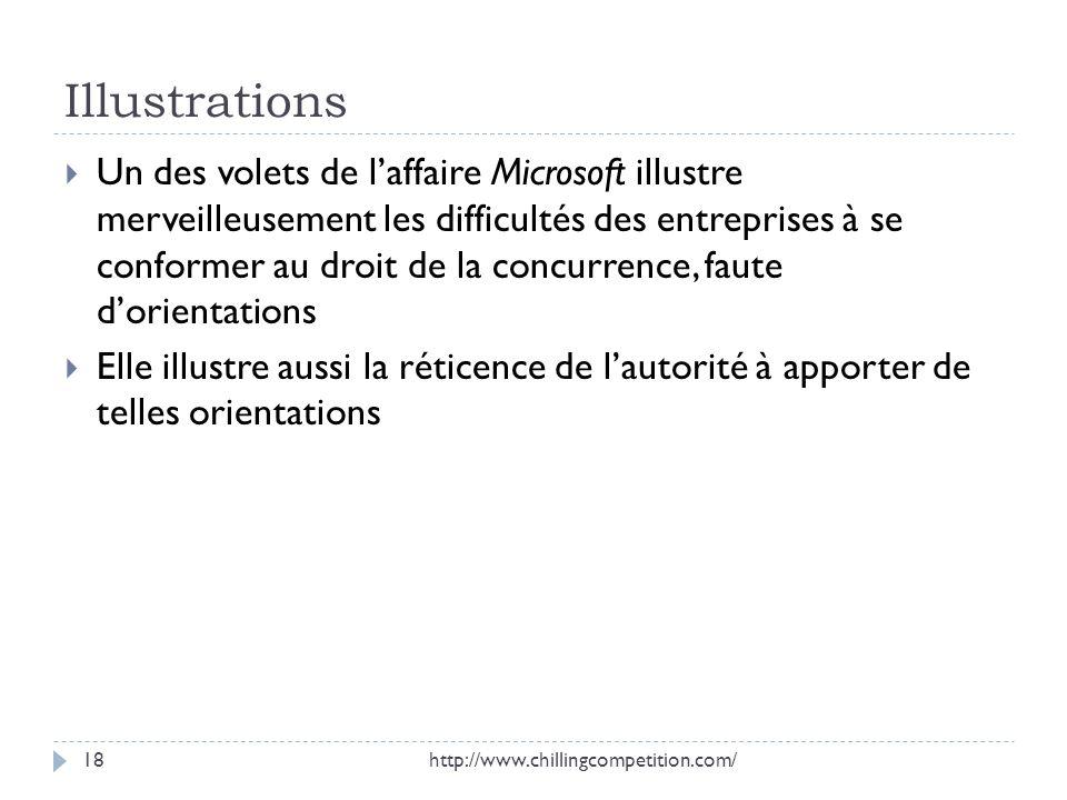 Illustrations Un des volets de laffaire Microsoft illustre merveilleusement les difficultés des entreprises à se conformer au droit de la concurrence,