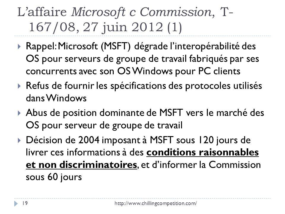 Laffaire Microsoft c Commission, T- 167/08, 27 juin 2012 (1) Rappel: Microsoft (MSFT) dégrade linteropérabilité des OS pour serveurs de groupe de trav