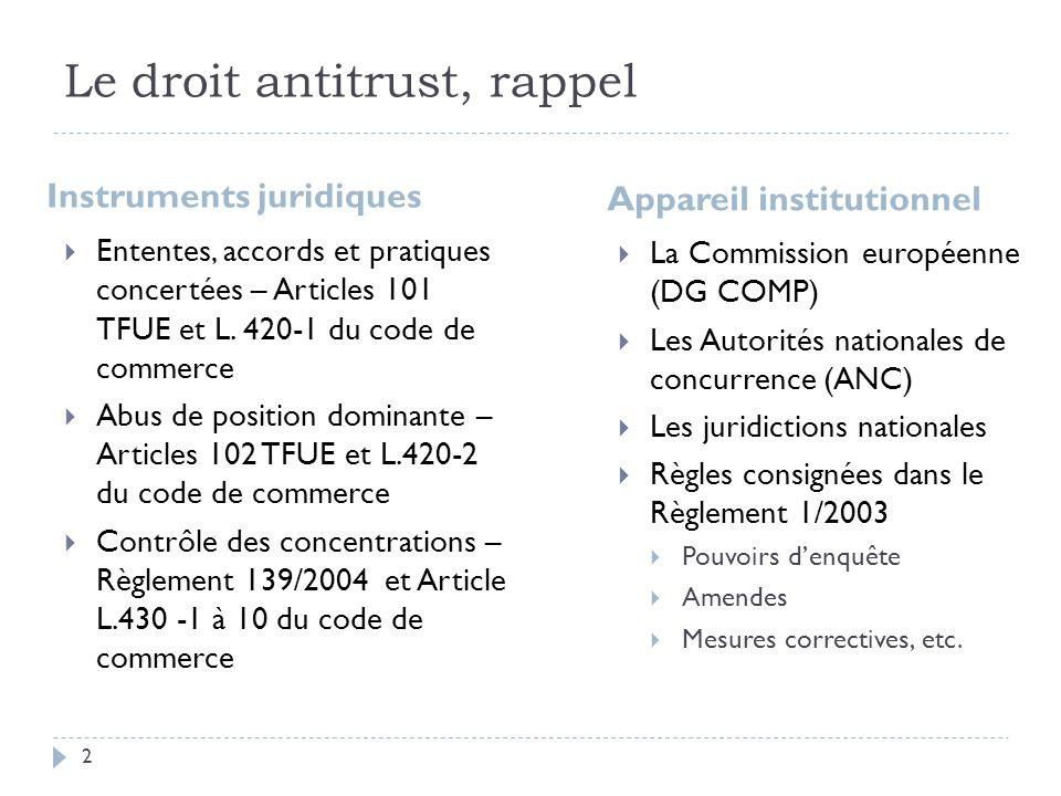 Le droit antitrust, rappel Instruments juridiques Ententes, accords et pratiques concertées – Articles 101 TFUE et L. 420-1 du code de commerce Abus d