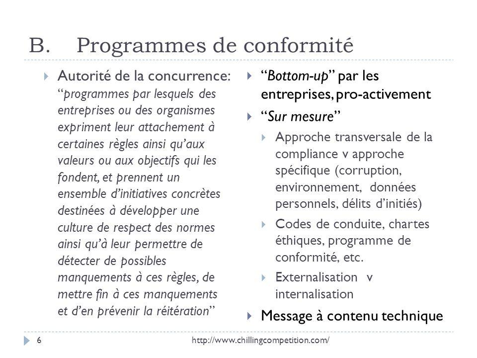 B. Programmes de conformité Autorité de la concurrence:programmes par lesquels des entreprises ou des organismes expriment leur attachement à certaine