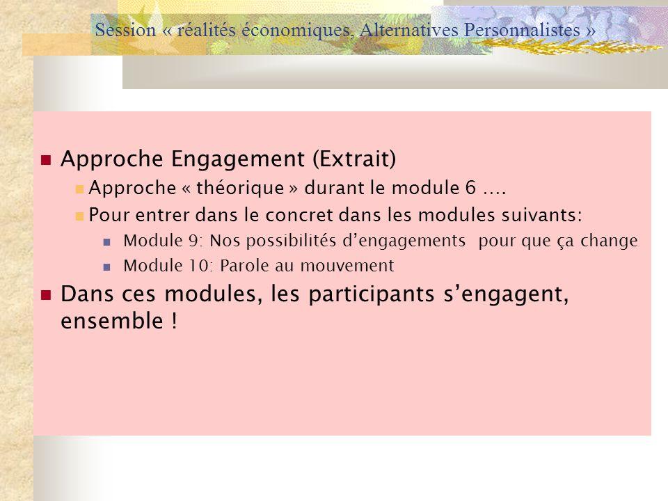 Session « réalités économiques, Alternatives Personnalistes » Approche Engagement (Extrait) Approche « théorique » durant le module 6 …. Pour entrer d