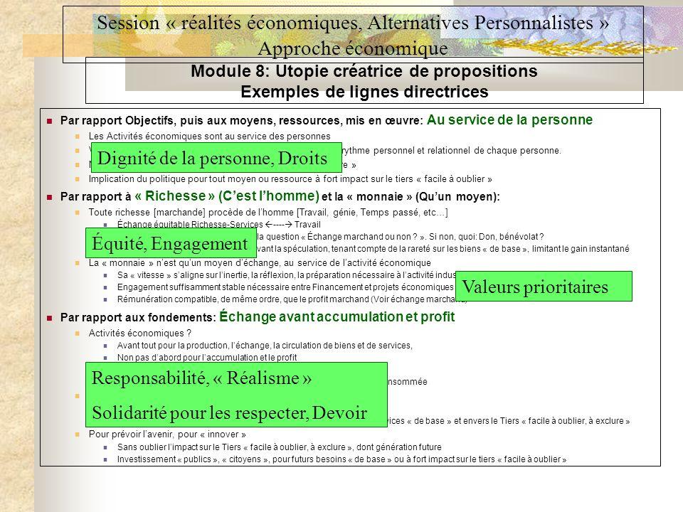 Module 8: Utopie créatrice de propositions Exemples de lignes directrices Session « réalités économiques, Alternatives Personnalistes » Approche écono