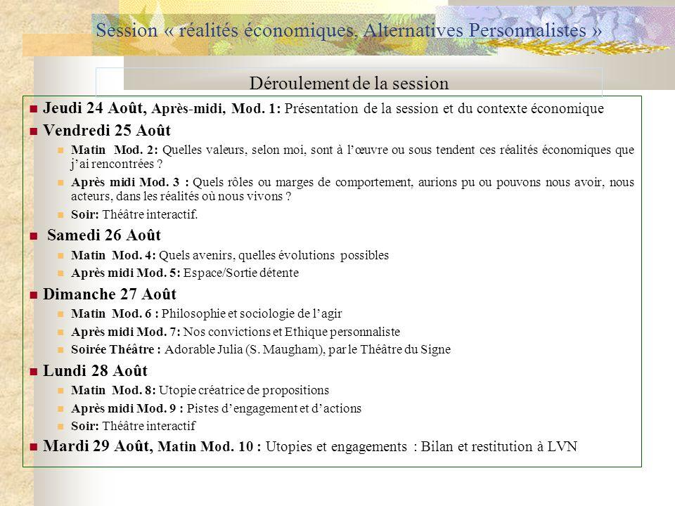 Session « réalités économiques, Alternatives Personnalistes » Jeudi 24 Août, Après-midi, Mod. 1: Présentation de la session et du contexte économique
