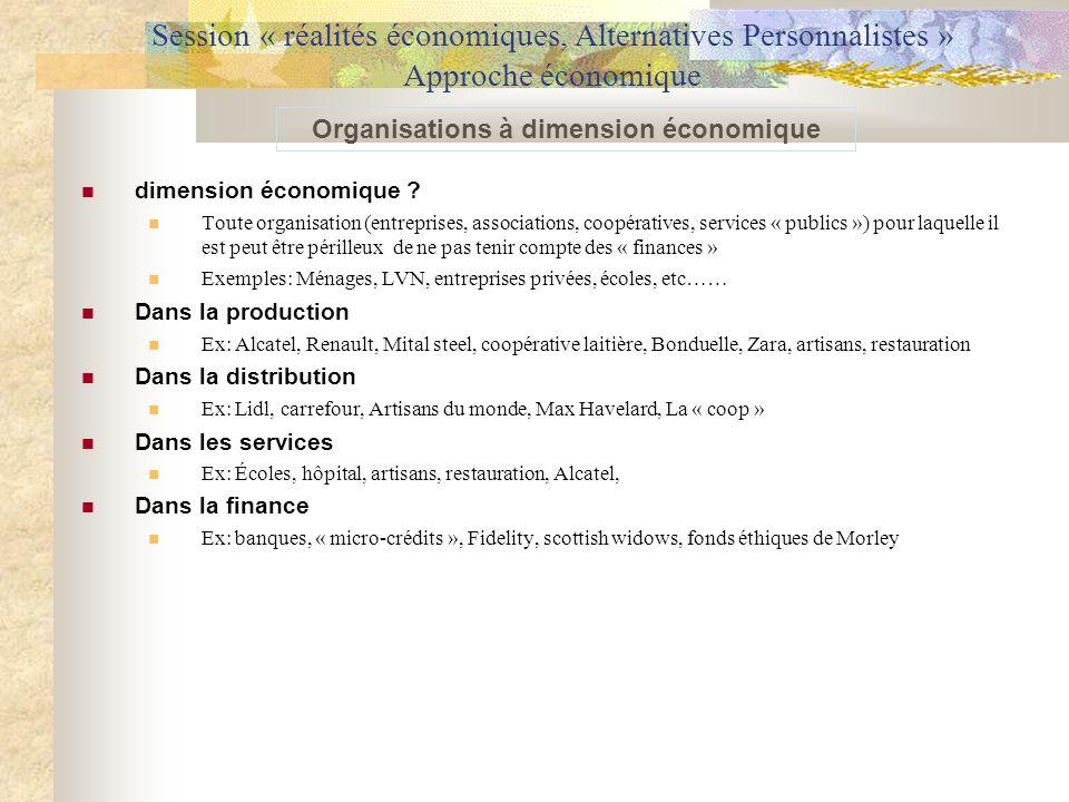 Session « réalités économiques, Alternatives Personnalistes » Approche économique dimension économique ? Toute organisation (entreprises, associations