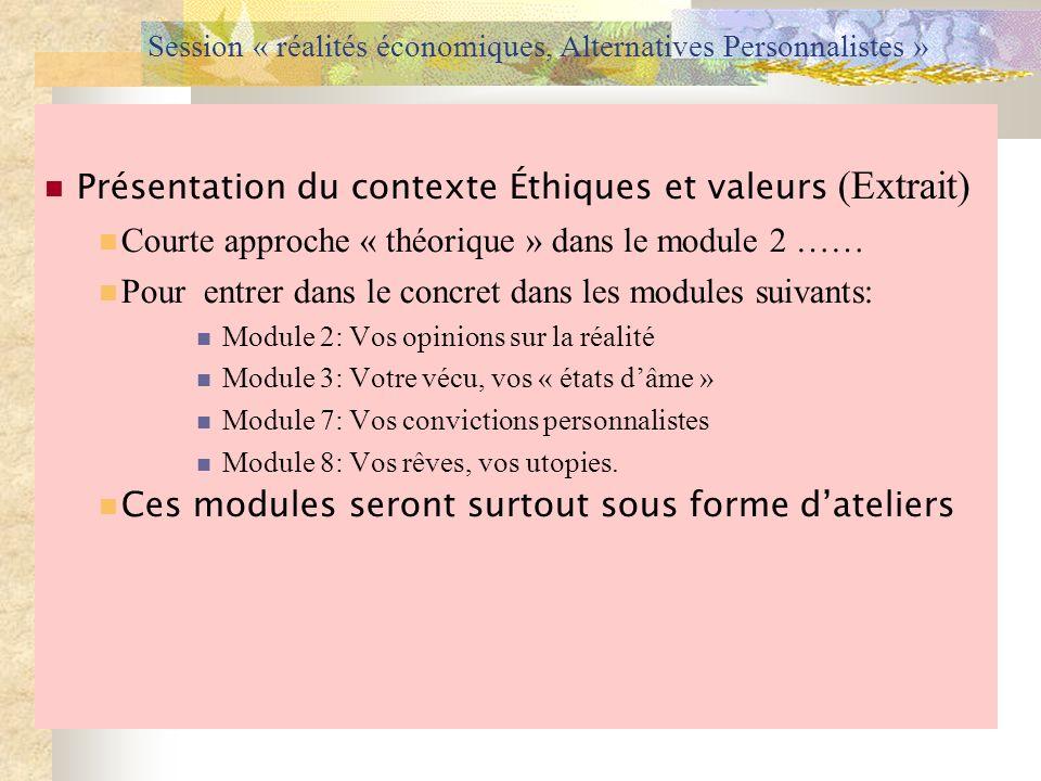 Session « réalités économiques, Alternatives Personnalistes » Présentation du contexte Éthiques et valeurs (Extrait) Courte approche « théorique » dan