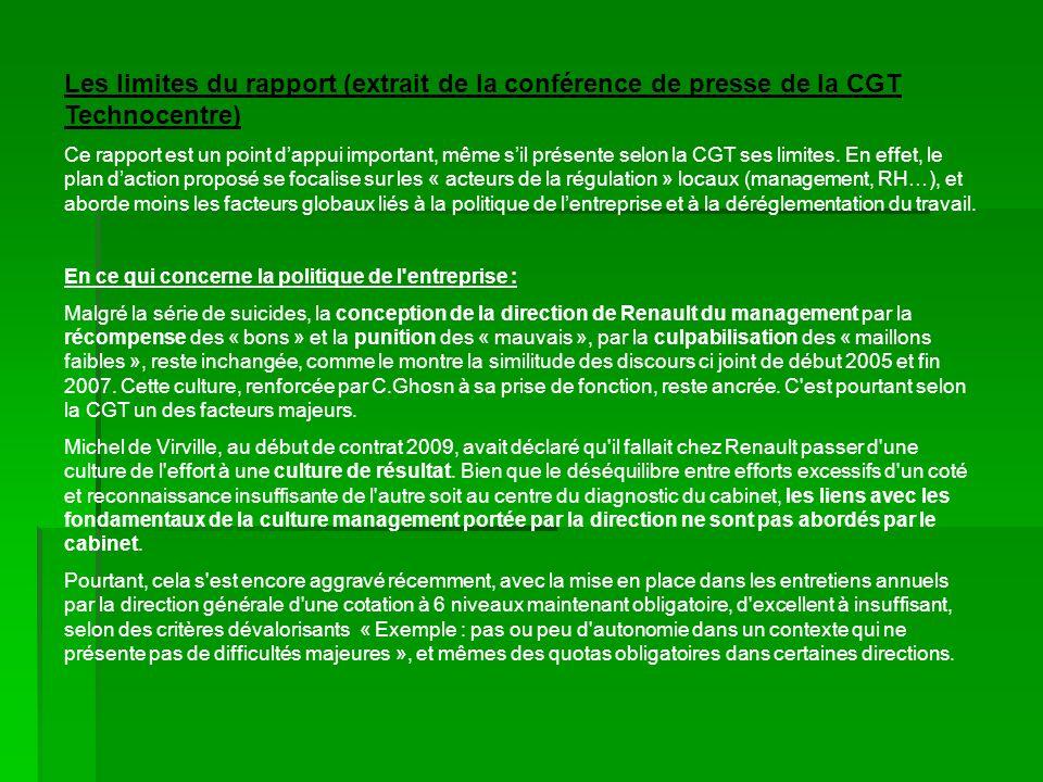 Les limites du rapport (extrait de la conférence de presse de la CGT Technocentre) Ce rapport est un point dappui important, même sil présente selon la CGT ses limites.