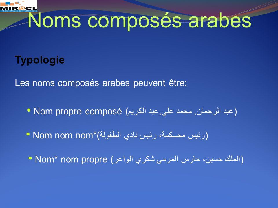 Les noms composés arabes peuvent être: Noms composés arabes Nom propre composé (عبد الرحمان, محمد علي,عبد الكريم) Nom nom nom*(رئيس محــكمة، رئيس نادي