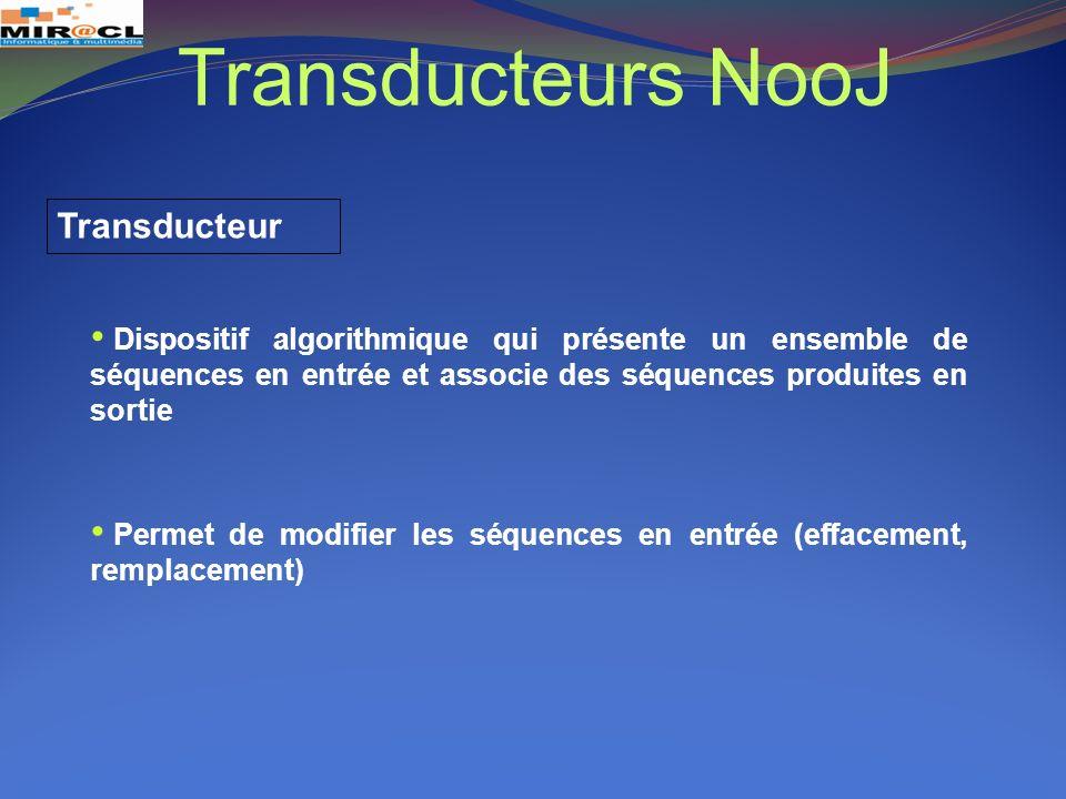 Transducteurs NooJ Transducteur Dispositif algorithmique qui présente un ensemble de séquences en entrée et associe des séquences produites en sortie