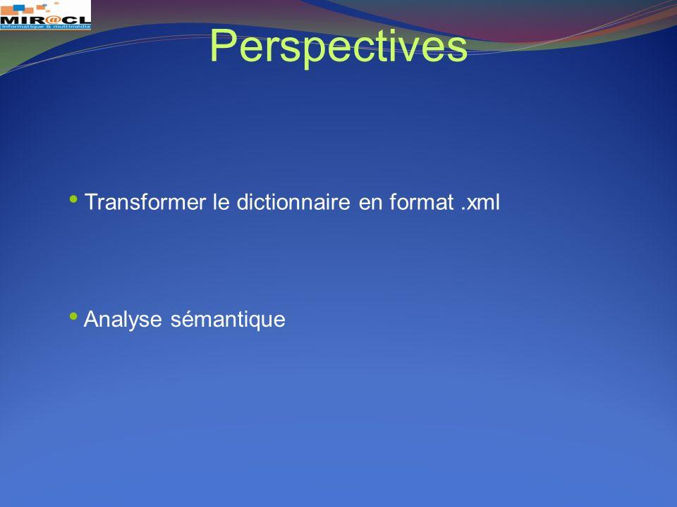 Perspectives Transformer le dictionnaire en format.xml Analyse sémantique