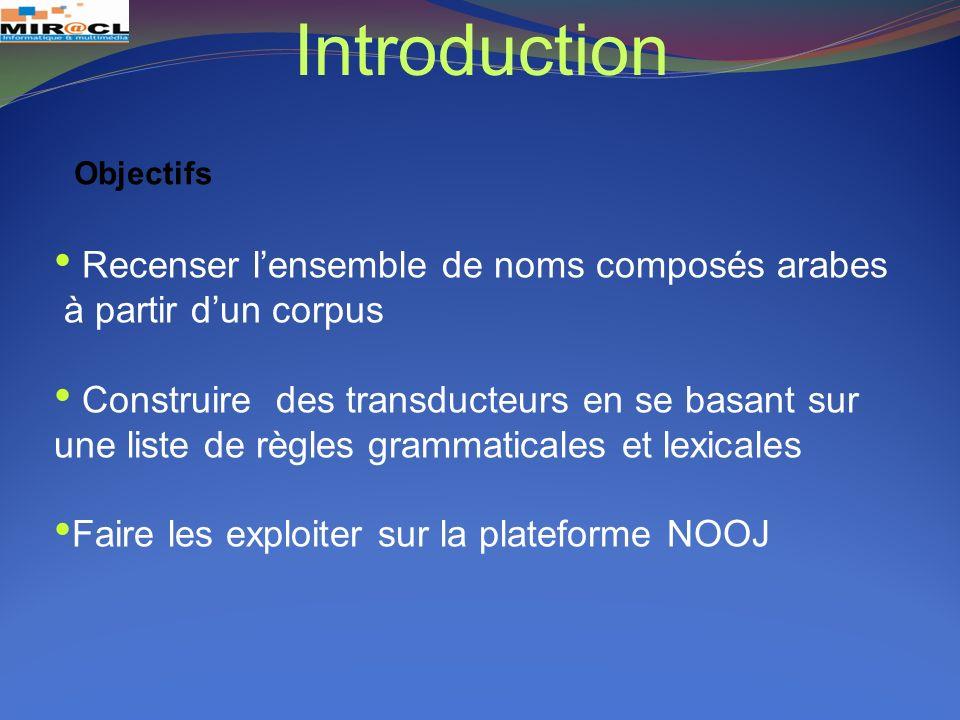 Recenser lensemble de noms composés arabes à partir dun corpus Construire des transducteurs en se basant sur une liste de règles grammaticales et lexi