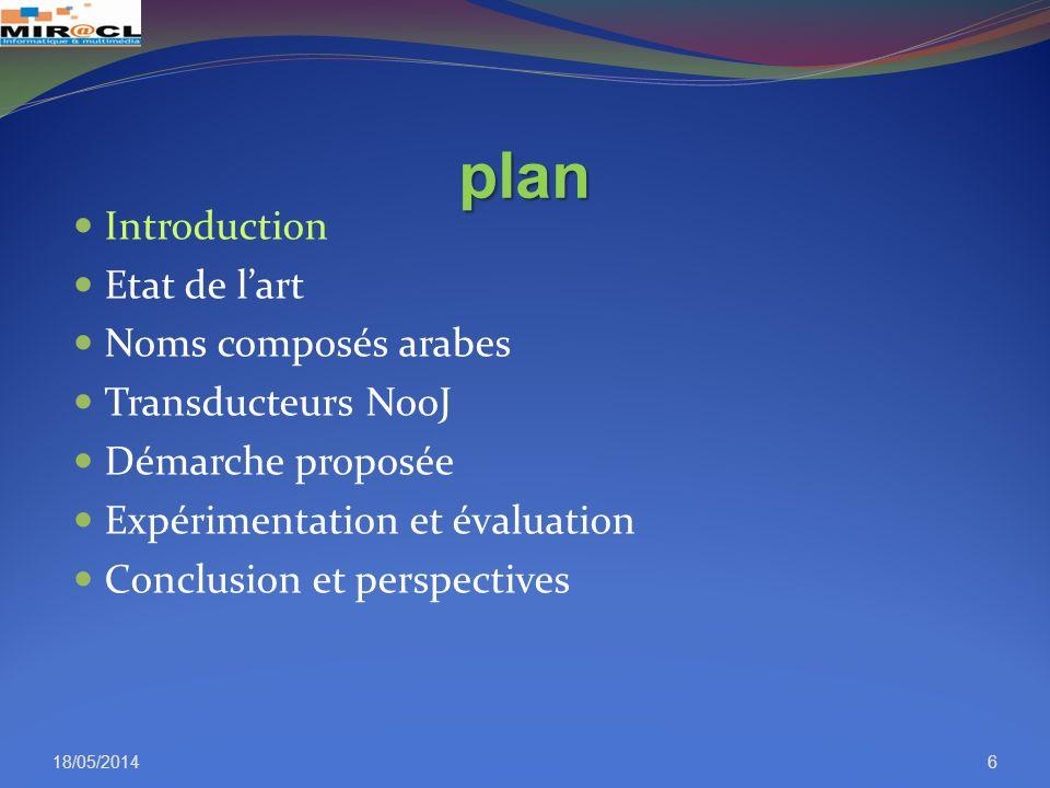 plan Introduction Etat de lart Noms composés arabes Transducteurs NooJ Démarche proposée Expérimentation et évaluation Conclusion et perspectives 18/0
