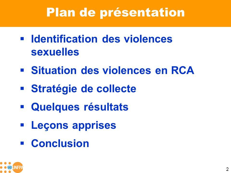 2 Plan de présentation Identification des violences sexuelles Situation des violences en RCA Stratégie de collecte Quelques résultats Leçons apprises