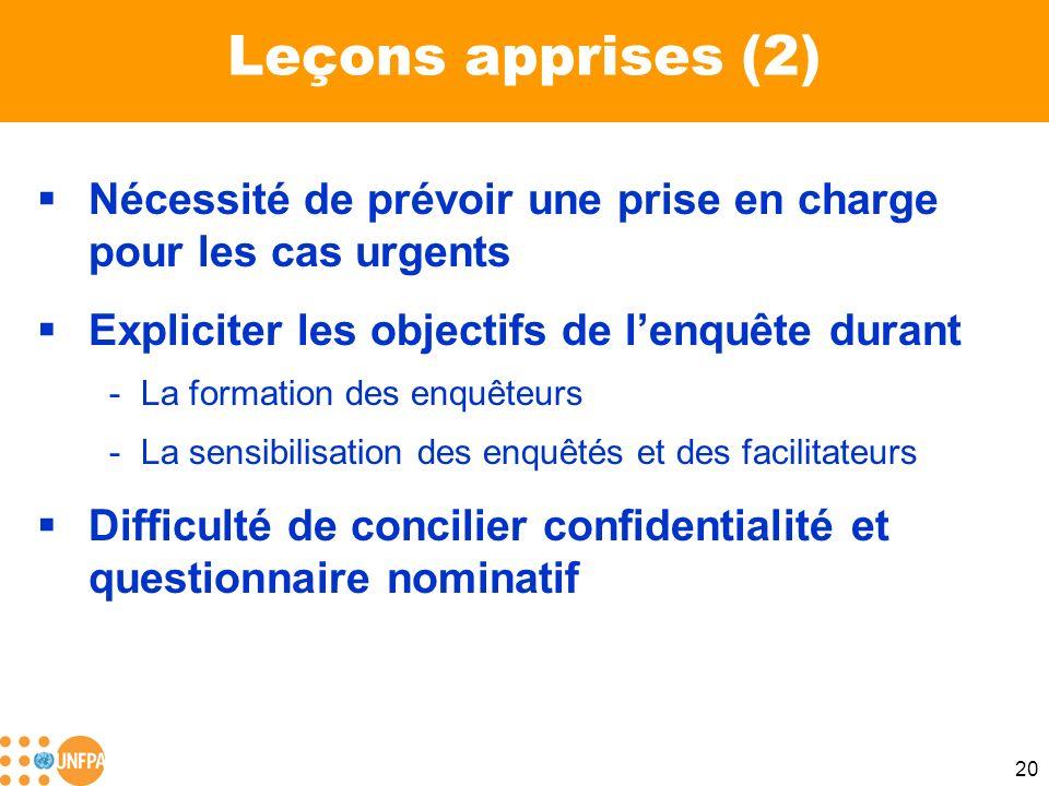 20 Leçons apprises (2) Nécessité de prévoir une prise en charge pour les cas urgents Expliciter les objectifs de lenquête durant -La formation des enq