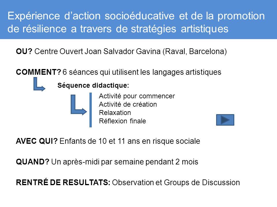 Expérience daction socioéducative et de la promotion de résilience a travers de stratégies artistiques OU? Centre Ouvert Joan Salvador Gavina (Raval,