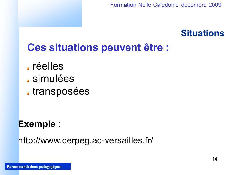 14 Recommandations pédagogiques Formation Nelle Calédonie décembre 2009 14 Situations Ces situations peuvent être : réelles simulées transposées Exemple : http://www.cerpeg.ac-versailles.fr/
