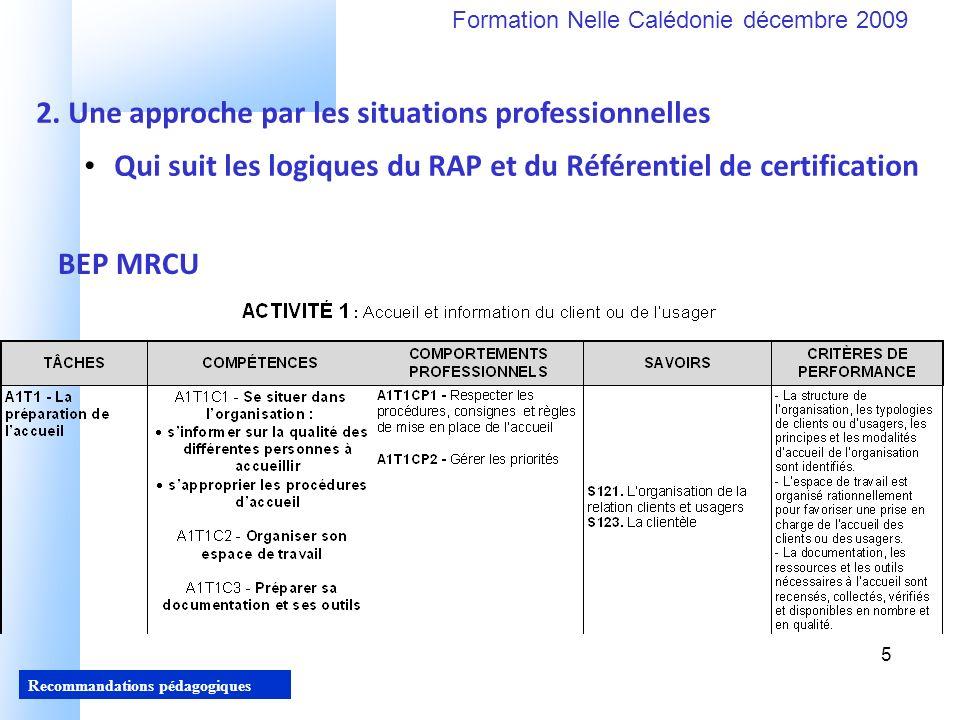 5 Recommandations pédagogiques Formation Nelle Calédonie décembre 2009 5 Qui suit les logiques du RAP et du Référentiel de certification 2.