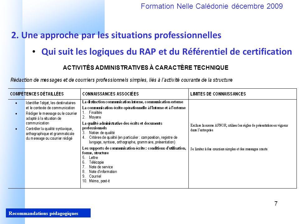 7 Recommandations pédagogiques Formation Nelle Calédonie décembre 2009 7 Qui suit les logiques du RAP et du Référentiel de certification 2.
