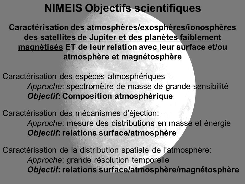 NIMEIS Objectifs scientifiques Caractérisation des atmosphères/exosphères/ionosphères des satellites de Jupiter et des planètes faiblement magnétisés