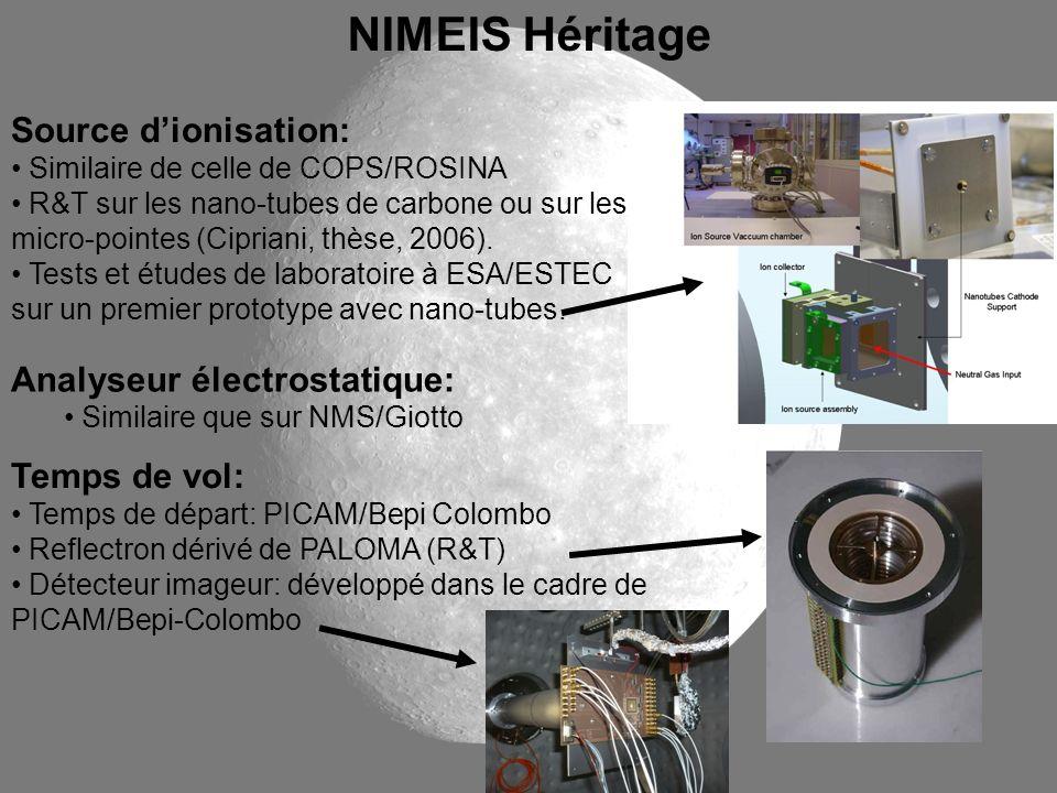 Source dionisation: Similaire de celle de COPS/ROSINA R&T sur les nano-tubes de carbone ou sur les micro-pointes (Cipriani, thèse, 2006). Tests et étu