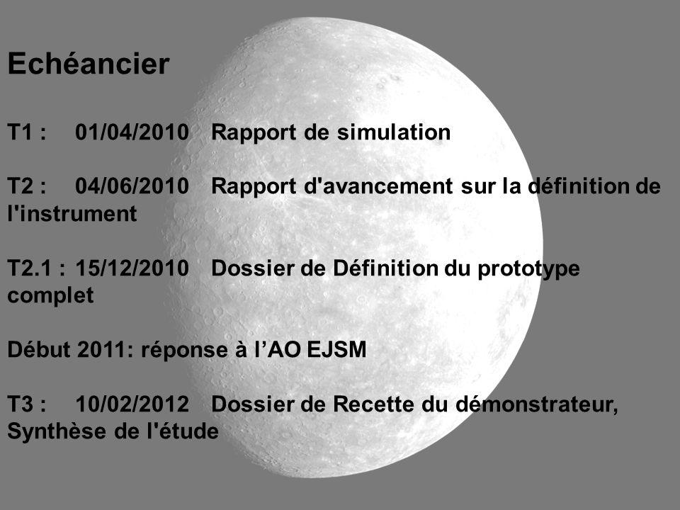 Echéancier T1 :01/04/2010Rapport de simulation T2 :04/06/2010Rapport d'avancement sur la définition de l'instrument T2.1 :15/12/2010Dossier de Définit
