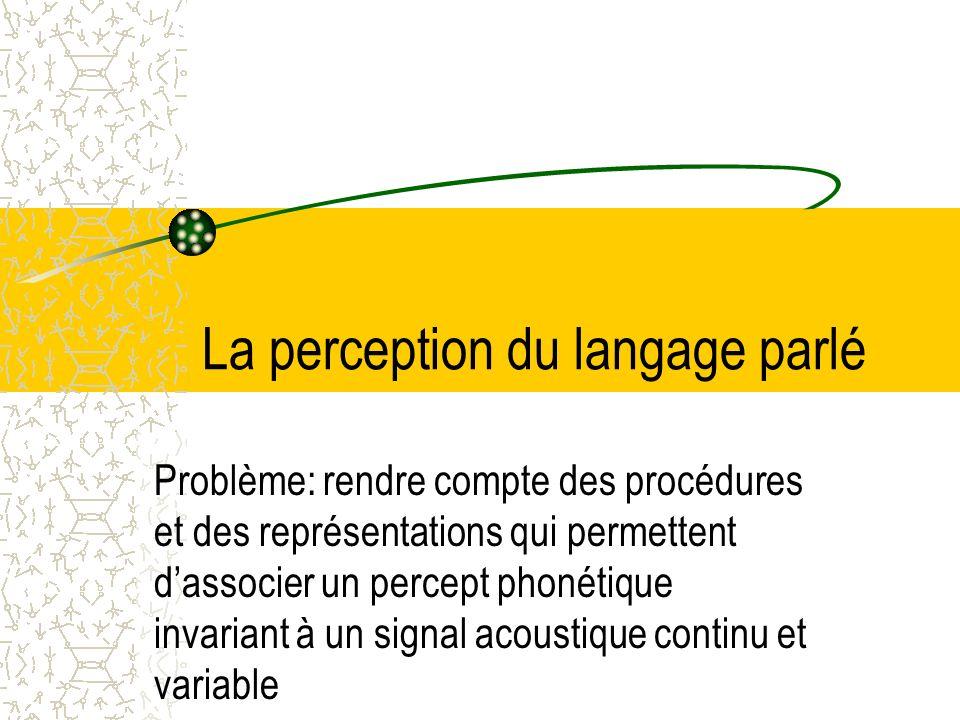 La perception du langage parlé Problème: rendre compte des procédures et des représentations qui permettent dassocier un percept phonétique invariant à un signal acoustique continu et variable