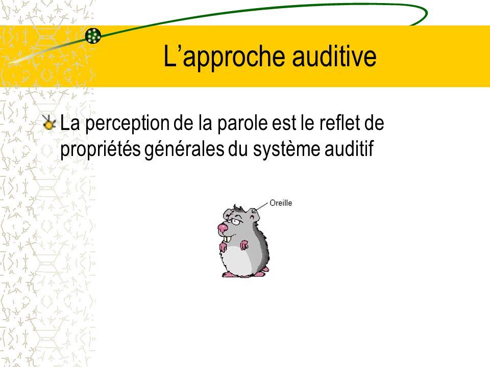 Lapproche auditive La perception de la parole est le reflet de propriétés générales du système auditif