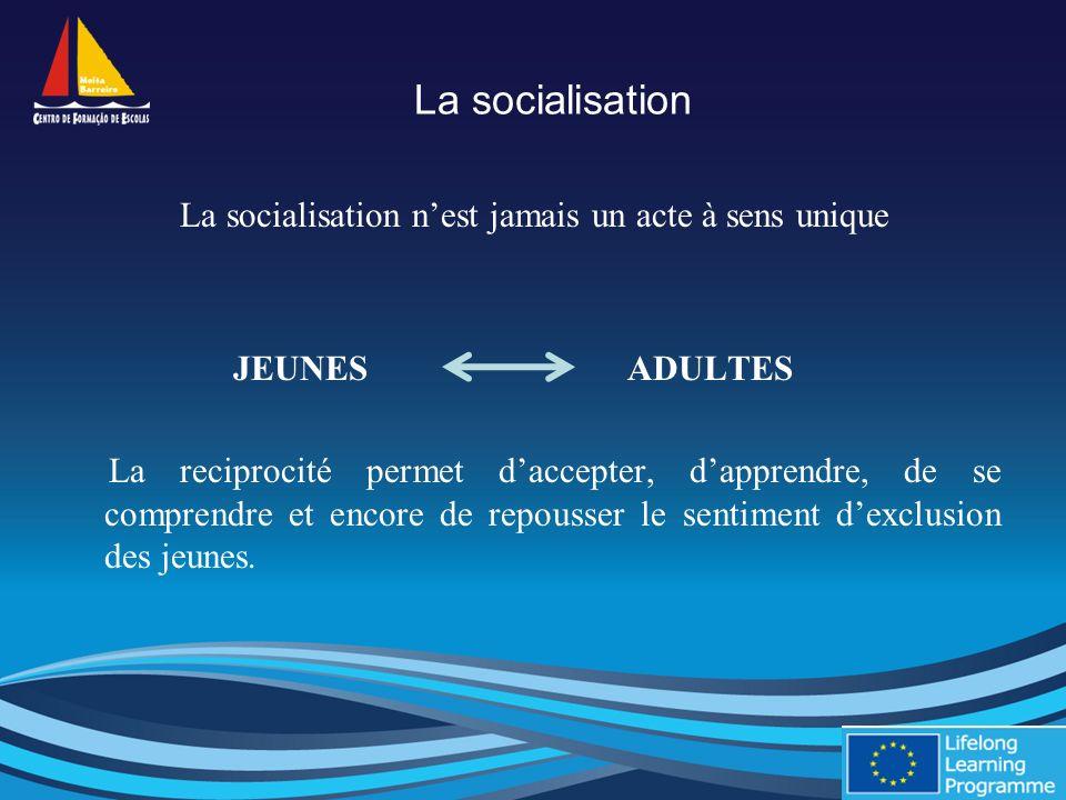 La socialisation La socialisation nest jamais un acte à sens unique JEUNES ADULTES La reciprocité permet daccepter, dapprendre, de se comprendre et encore de repousser le sentiment dexclusion des jeunes.