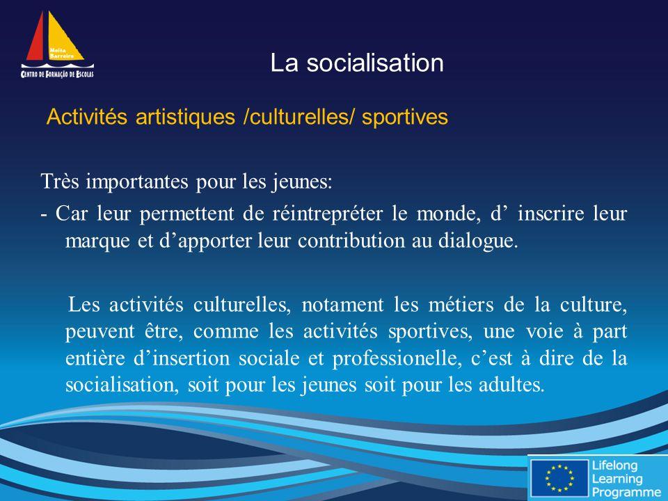 La socialisation Activités artistiques /culturelles/ sportives Très importantes pour les jeunes: - Car leur permettent de réintrepréter le monde, d inscrire leur marque et dapporter leur contribution au dialogue.