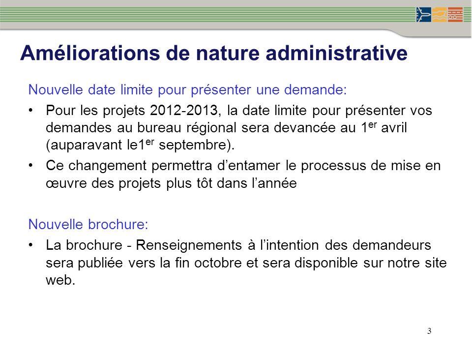3 Nouvelle date limite pour présenter une demande: Pour les projets 2012-2013, la date limite pour présenter vos demandes au bureau régional sera devancée au 1 er avril (auparavant le1 er septembre).