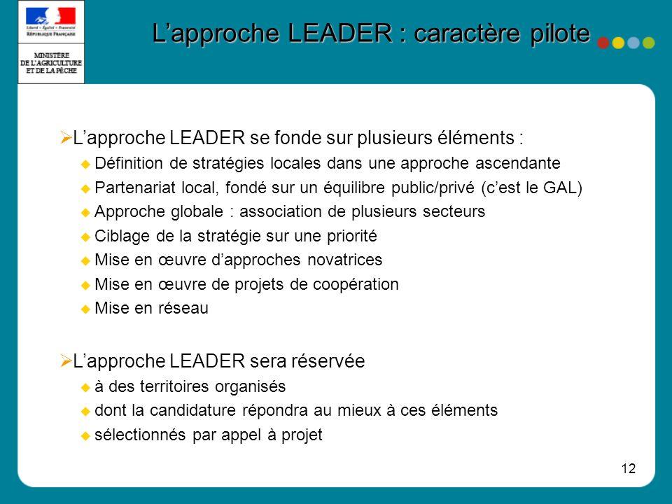 12 Lapproche LEADER : caractère pilote Lapproche LEADER se fonde sur plusieurs éléments : Définition de stratégies locales dans une approche ascendant