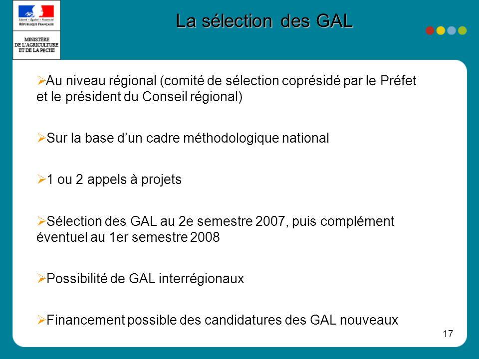 17 La sélection des GAL Au niveau régional (comité de sélection coprésidé par le Préfet et le président du Conseil régional) Sur la base dun cadre mét