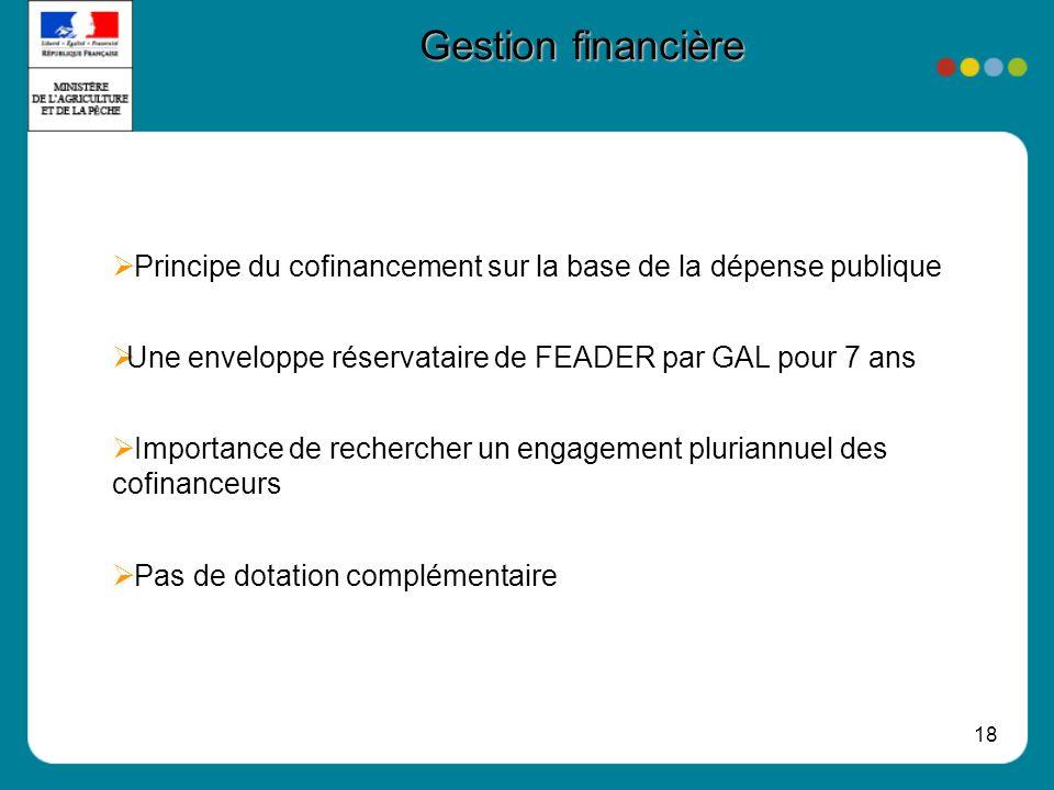 18 Gestion financière Principe du cofinancement sur la base de la dépense publique Une enveloppe réservataire de FEADER par GAL pour 7 ans Importance