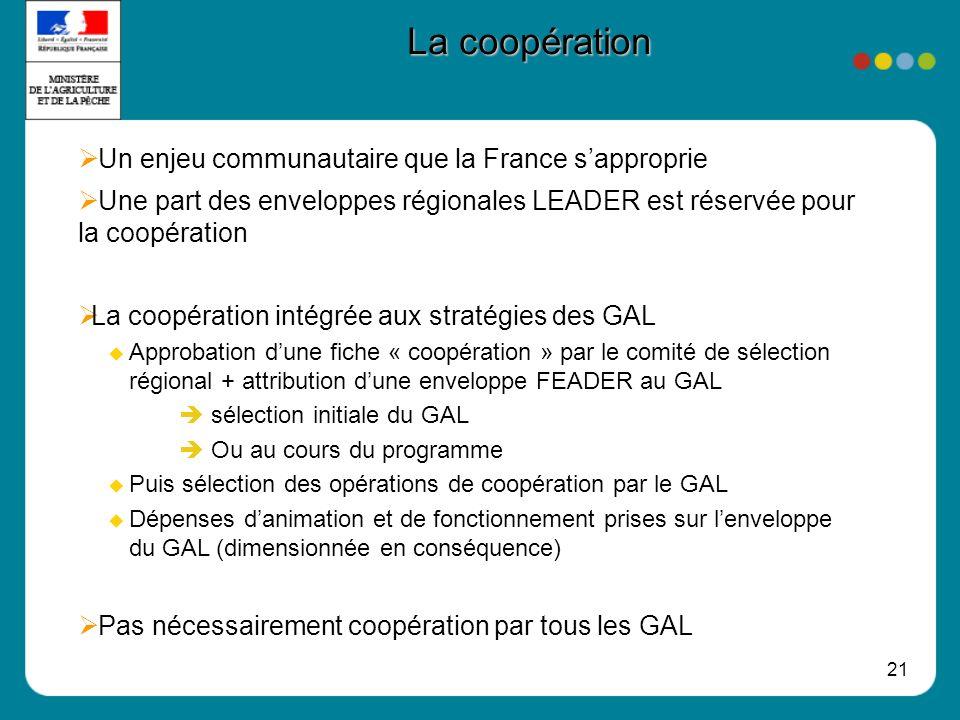 21 La coopération Un enjeu communautaire que la France sapproprie Une part des enveloppes régionales LEADER est réservée pour la coopération La coopér